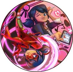 Ladybug and marinette, two sides of the same coin ^-^ Still like the chat one better though XD