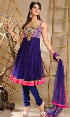 Deep Purple Color Net Churidar Kameez