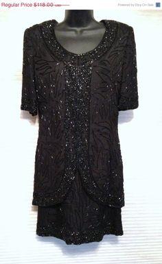 Sale Vintage Black Dress Beaded LBD 1980s Glam by BelleJewelNoir