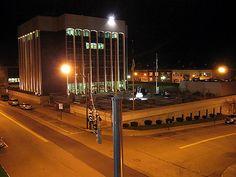 City Hall at night downtown Jamestown, NY