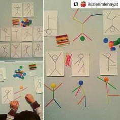 with ・・・ Şablona bakarak sayı çubu. - My Pin Montessori Activities, Motor Activities, Infant Activities, Kindergarten Activities, Activities For Kids, Teaching Kids, Kids Learning, Art For Kids, Crafts For Kids