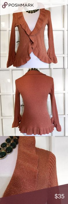 Nine West Copper Thread Ruffled Cardigan Fabulous for Fall! 🍁Shimmery copper threading, ruffled neck, wrists and hem, clasp at waist. Machine wash/Dry Flat Nine West Sweaters Cardigans