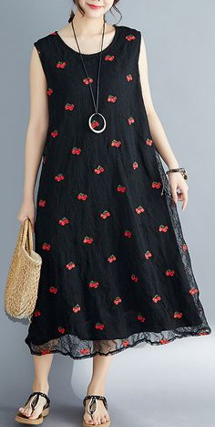 Elegant embroidery lace clothes Sleeve black Dress summer sleeveless – Daily Fashion Tips Linen Dresses, Modest Dresses, Cotton Dresses, Casual Dresses, Maxi Dresses, Cheap Summer Dresses, Summer Outfits Women, Dress Summer, Lace Outfit