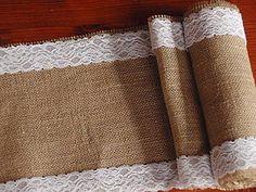 Úžitkový textil - Šerpa na stôl so šírkou 26 cm z juty s čipkou po okrajoch - 5146914_