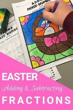 Adding and Subtracting Fractions Easter Color by Number Bundle Distance Learning Fractions Worksheets, Number Worksheets, Easter Activities For Kids, Math For Kids, Tools For Teaching, Teaching Resources, Teaching Ideas, Fraction Activities, Learning Activities