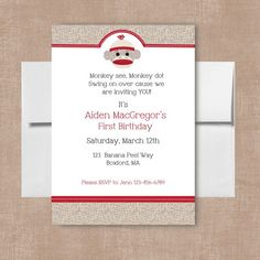 Sock Monkey Invitations