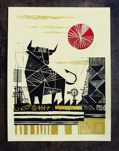 Creative Illustration, Bull, Curtis, and Jinkins image ideas & inspiration on Designspiration New Year Illustration, Creative Illustration, Pattern Illustration, Digital Illustration, Screen Print Poster, Poster Prints, Bull Images, Texture Images, New Years Poster