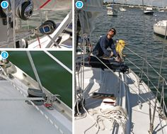 Most halyard winches are not powerful enough to hoist a 200-pound sailor up a mast, so you need to find a way to let your primary winches take the strain if you need to hoist someone up the rig. Here's what we do on our boat, where the main halyard runs via a rope clutch (not seen in the photo) to a small winch on the mast. First, we loop a spare length of half-inch line a few times around the