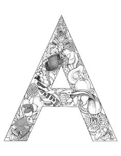 coloriage | lettres alphabet avec des animaux | lettre-a-animal-animaux