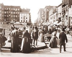 Pedestrians and peddlers on Hester Street on the lower east side of Manhattan and is a traditionally Jewish neighborhood