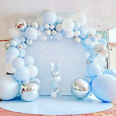 141-Piece Pastel Blue and Silver Balloon Garland Kit Balloon Arch, Balloon Garland, Balloon Display, Party Garland, Balloon Clouds, Balloon Ideas, Baby Shower Balloons, Baby Shower Parties, Shower Party