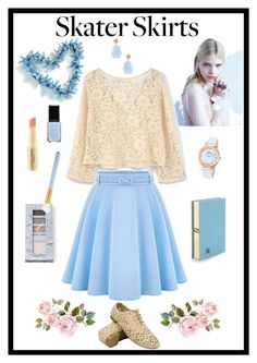 """""""Light Blue Skater Skirt"""" by giovanina-001 ❤ liked on Polyvore featuring WithChic, MANGO, Olympia Le-Tan, Suneera, jane, MAC Cosmetics and Napoleon Perdis"""