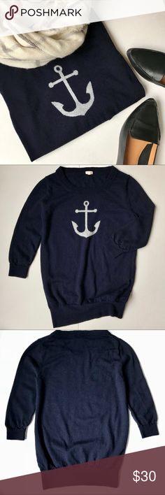 J. Crew Navy Anchor Sweater 3/4 Sleeve XS Women's J Crew crew neck sweater and three quarter length sleeves. In very good preowned condition. Deep navy color with cute gray anchor detail. Perfect for transitioning into cold weather. Size extra small would fit 0 - 2. Made of stretchy and super soft Merino Wool. J. Crew Sweaters