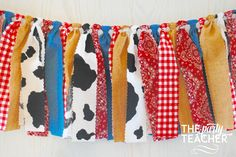 Got a hankering for a farm party? My fabric tie bunting provides just the touch of barnyard charm to your party and coordinates with any farm party printables or other decoration. My garlands are very