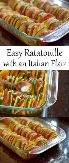 Easy Ratatouille Recipe with an Italian Flair. Roasted in the oven makes this a low maintenance side dish to use all your favorite summer vegetables. Delicious and pretty enough to serve at a party or whip up for a weeknight dinner.