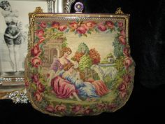 Stunning Two Sided Figural Scenic Micro Petit Point Purse with Jewel & Enamel Frame. $105.00, via Etsy.