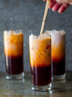 Because I have a strange addiction to Thai Tea. Easy Thai Tea Recipe (Thai Iced Tea) from White On Rice Couple Read Recipe by Thai Tea Recipes, Iced Tea Recipes, Coffee Recipes, Drink Recipes, Salad Recipes, Non Alcoholic Drinks, Cocktail Drinks, Cocktails, Beverages