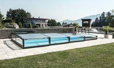 Zastřešení bazénu POPP - PRESTIGE P7 - bezkolejový posuv na solární pohon esteticky nenarušuje dlažbu v bezprostředním okolí bazénu.