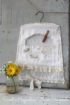 "Clothespin Bag Farm Style ""Farm Fresh"" Vintage Lace ~ Applique ~ Simply Charming ~ by SweetMagnoliasFarm, SOLD to a Good Home ! Sewing Art, Sewing Crafts, Sewing Projects, Diy Crafts, Sweet Magnolia, Magnolia Farms, Magnolia Homes, Clothespin Bag, Peg Bag"