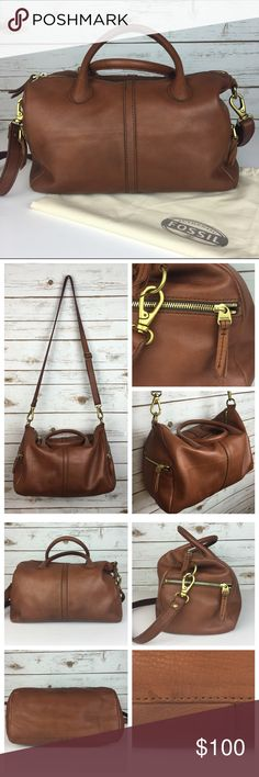 """[Fossil] Syndey Satchel Leather Bag Brown Boho Lux Classic Sydney satchel bag by Fossil. Structured yet so soft and slouchy. Vintage inspired. Short double handles and long, detachable crossbody strap. Exterior side zip pockets. Zip top. Interior compartment with side zip pocket, card slots, and PDA slip pockets. Dust bag included.  Dimensions: 13"""" W x 10"""" H x 5.5"""" D Strap Drop: 23"""" (adjustable) Condition: GUC. Some denim transfer on back side of bag. One small water spot smaller than a dime…"""