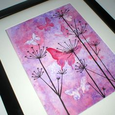Butterflies in rich purples and red tones on an intricately textured background. Original watercolour and ink painting.