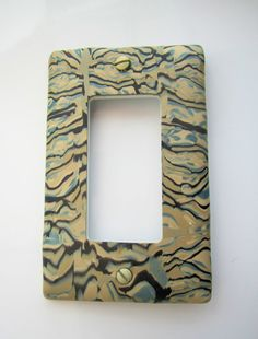Single Rocker Switch Plate in Beige and Blue with by marcympc, $5.00