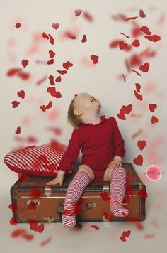#Valentine's day #red #petals #girl #suitcase #heart #smile #photography #petfruska