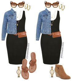 Plus Size Black Bodycon Dress Outfit Ideas - Alexa Webb - Plus Size Black Bodycon Dress Outfit Ideas – Denim Jacket, Plus Size Belt Bag, Coin Necklace, San - Black Bodycon Dress Outfit, Black Dress Outfits, Stylish Outfits, Fall Outfits, Vegas Outfits, Party Outfits, Dress Casual, Look Fashion, Fashion Outfits