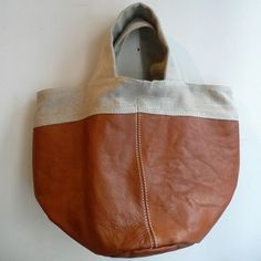 [Envelope Online Shop]linen x leather handbag