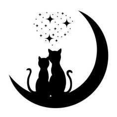 Illustration of cats in love vector art, clipart and stock vectors. Moon Vector, Cat Vector, Vector Art, Cat Crafts, Rock Crafts, Silhouette Chat, Cat Clipart, Bottle Painting, Cat Drawing