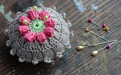 Linen  pincushion  crochet motif by namolio on Etsy