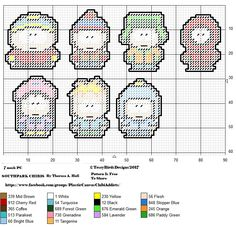 SOUTH PARK CHIBIS SET  OUTLINED FOR PLASTIC CANVAS CREATIONS