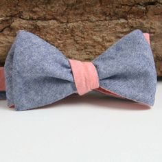 Fancy - Classic Navy & Pink Chambray Bow Tie - Handmade Vintage Ties, Bow Ties, Pocket Squares, and Men's Furnishings - General Knot & Co.
