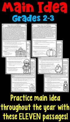 Main Idea and Supporting Details Worksheets for and grade- spiral main idea practice through the school year with these monthly main idea passages! Reading Comprehension Activities, Reading Passages, Reading Strategies, Reading Skills, Teaching Reading, Guided Reading, Reading Groups, Close Reading, Reading Art