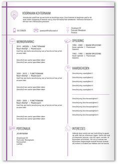 CV design 354. Gebruik dit CV ontwerp om je eigen CV te laten pimpen.