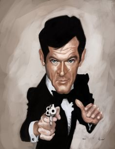 Roger Moore 007 by DevonneAmos.deviantart.com - CARICATURE: http://dunway.com/