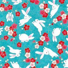papier japonais washi chiyogami yuzen lapin turquoise fleurs