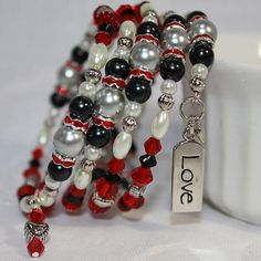 Memory Wire Beaded Bracelet Wrist Wrap Glass Beads and Glass Pearls Red and Black Love Womens Jewelry Memory Wire Jewelry, Memory Wire Bracelets, Jewelry Bracelets, Memory Wire Rings, Pandora Bracelets, Bridal Jewelry, Beaded Jewelry, Handmade Jewelry, Glass Jewelry