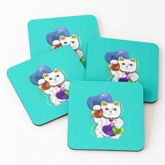 Cat Coasters, Lucky In Love, Maneki Neko, Fashion Room, Coaster Set, Vintage Designs, My Arts, Vibrant, Tapestry