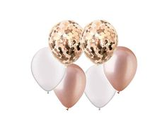 Rose Gold Metallic Balloons With 2 Confetti rose gold balloons Pack) Copper Confetti Pastel Balloons, Metallic Balloons, Gold Confetti Balloons, Large Balloons, White Balloons, Rose Gold Pearl, Rose Gold Pink, Pearl White, Balloon Tassel