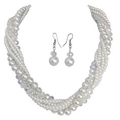 White Twisted Glass Imitation Pearl Beaded Necklace Earrings Set * Click image to review more details.