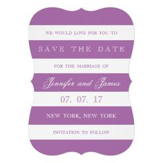 MODERN LINES | PHOTO SAVE THE DATE CARD in purple and white. By Elke Clarke. Available at www.zazzle.com/epclarke