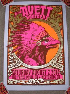 THE AVETT BROTHERS concert gig tour poster 8-2-14 KETTERING silkscreen art