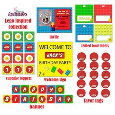 DIY Printable Lego Inspired Party Package by LilPartyAnimals, $35.00