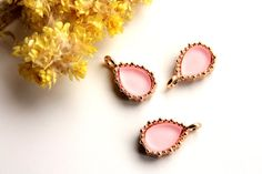 """Pink Oval Metal Charm, 5 pcs 0.66"""" Drop Shaped Charm, Making Jewelry, Metal Findings, Charm Findings, DIY Jewelry"""
