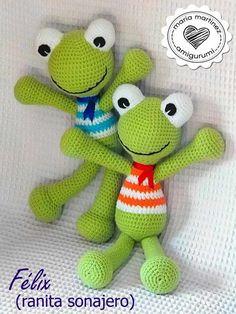 Esta ranita de crochet es uno de los muñecos que más he repetido desde que empecé a vender mis amigurumi: es divertida, alegre, suave... ¿Quieres hacer la tuya? Hoy te cuento dónde encontrar el pat... Crochet Frog, Crochet Mouse, Cute Crochet, Crochet Dolls, Easy Crochet, Crochet Baby, Crochet Geek, Crochet Animal Patterns, Crochet Animals