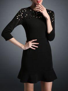 Shop Mini Dresses - Black Flounce 3/4 Sleeve Cotton-blend Mini Dress online. Discover unique designers fashion at StyleWe.com.