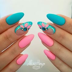 Colorful Spring Nails for a Sparkly, Shiny, Shimmery Manicur Nails For Party And Office Use With Unique Fashion Picture Credit summernails nailsart nailsdesign nailartdiy nailartgallery nailartideas fakenails nailfashion nudenails vale Nail Designs Spring, Nail Art Designs, Nails Design, Tropical Nail Designs, Salon Design, Gorgeous Nails, Pretty Nails, Hot Nails, Dark Nails