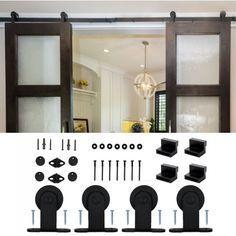 WinSoon 5/6/10-16FT Modern Style Black Steel Sliding Barn Door Hardware Closet Track Set