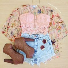 Daily New Fashion : Lace, Denim And Floral Combination :)
